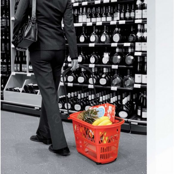 Gurulós bevásárló kosár (28 literes) PIROS