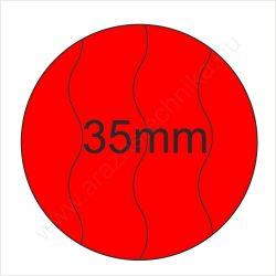 35mm BIZTONSÁGI - Fluo PIROS körcímke (400 db/tek)