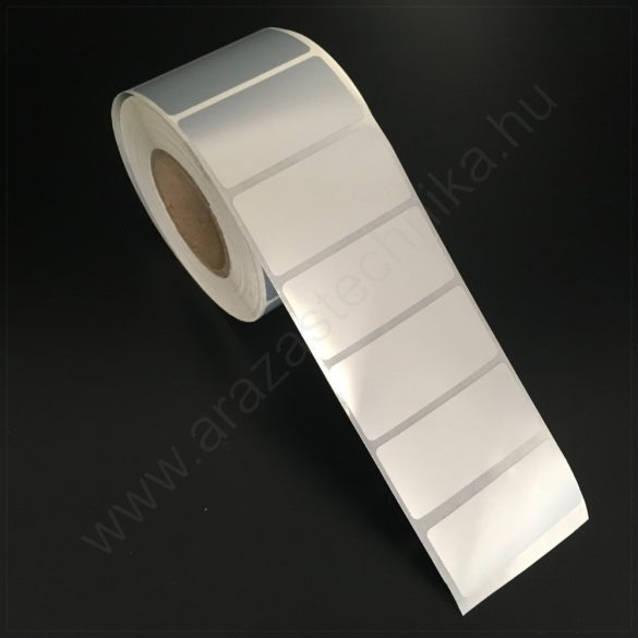 50×25 mm műanyag ezüst címke - PET Matt SILVER