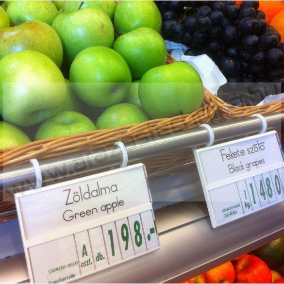Árkazetta zöldségekhez 120×84mm fehér-zöld +kampó