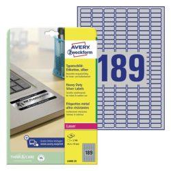 25,4x10mm ipari ezüst poliészter címke (Avery L6008-20)