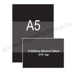 A5 fekete PVC lap (148×210mm) folyékony krétával írható