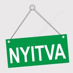 NYITVA - ZÁRVA tábla kétoldalas 210×98 mm (zöld-piros)