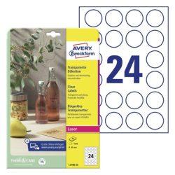 Átlátszó, víztiszta PE műanyag címke - kör 40 mm (Avery L7780-25)