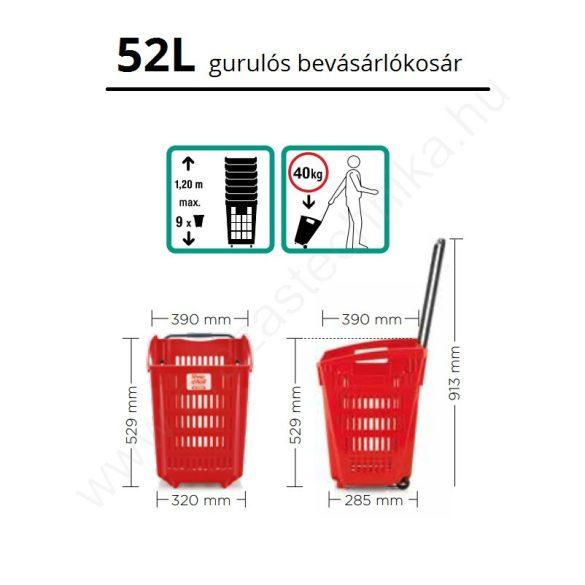 52 literes gurulós kosár - PIROS