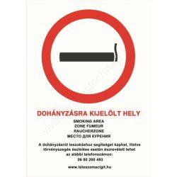 Dohányzásra kijelölt hely - A4 tábla (UV álló kültéri festék)