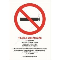 Tilos a dohányzás matrica ÜVEGRE - A4 matrica - fehér háttér - belülről ragasztható