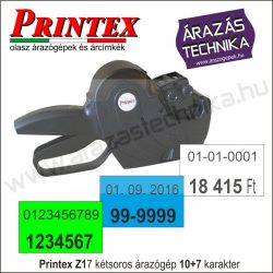 PRINTEX Z17 kétsoros 10+7 dátumozógép