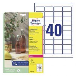 Átlátszó, víztiszta PE műanyag címke 45,7 x 25,4 mm (Avery L7781-25)