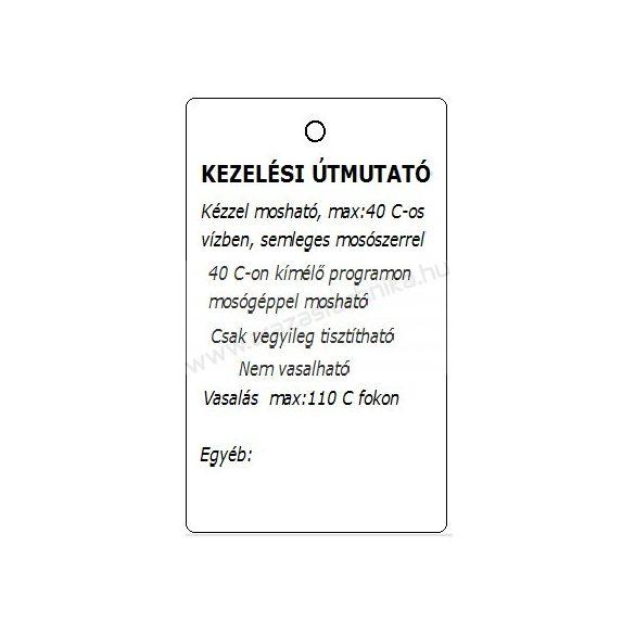 Függő címke 30×50mm Vásárlói tájékoztató - Kezelési útmutató