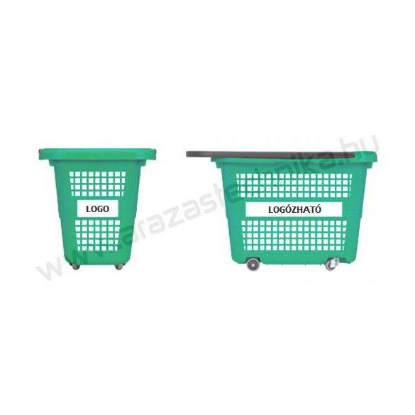 32 literes gurulós bevásárló kosár - zöld