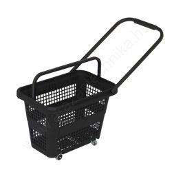 32 literes gurulós bevásárló kosár - fekete