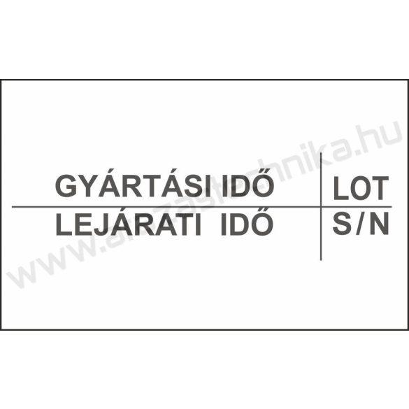 26x16mm original árazócímke GYÁRTÁSI IDŐ - LEJÁRAT - LOT - S/N