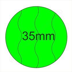 35mm BIZTONSÁGI - Fluo ZÖLD körcímke (400 db/tek)