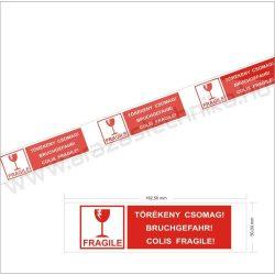 Csomagzáró szalag 50mm x 66fm - FRAGILE felirattal - TÖRÉKENY