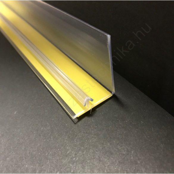 OPTI (2) Öntapadós termékmegállító 30 mm magas×1,25 méter széles kidőlésgátló polcszélre