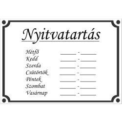 NYITVA TARTÁS matrica öntapadós (UV álló kültéri festék) - fehér
