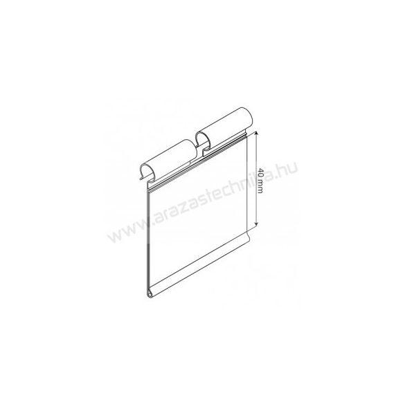 Kampóvégre árcímketartó tok PVC Profile 40×80mm átlátszó BTM