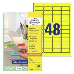 45,7x21,2 mm visszaszedhető etikett sárga (Avery L6041-20)