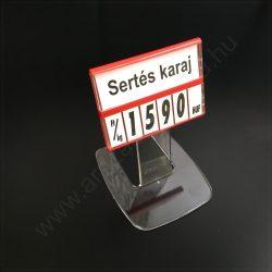 Árkazetta SZETT 74x51mm lapozható számokkal (piros keret) + 5 cm akril TALP