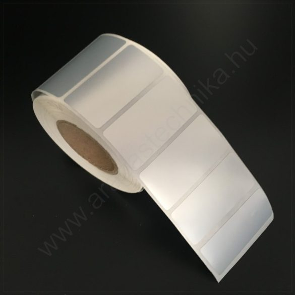 40x25 mm műanyag ezüst címke / PET Matt SILVER
