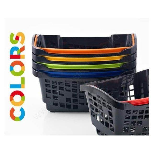 Bevásárló kosár 20L - Design COLOR -  PIROS fül