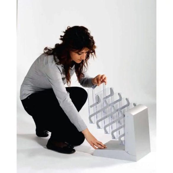 Prospektustartó állvány - mobil összecsukható (5×A4 akryl rekesz)
