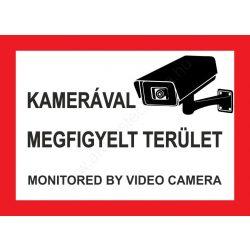 Kamerával megfigyelt terület - A4 matrica (UV álló) - piros