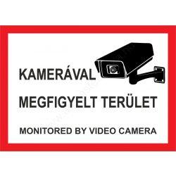 Kamerával megfigyelt terület - A5 matrica (UV álló) - piros