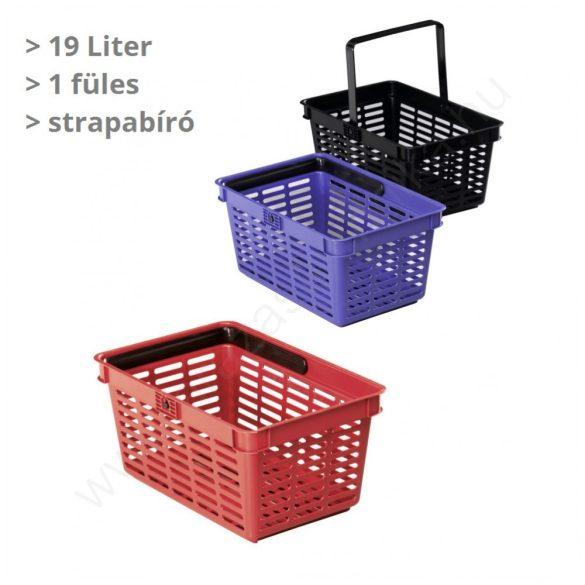 19 literes kézi bevásárló kosár - KÉK - egyfüles