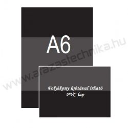 Fekete krétatábla A6 - folyékony krétával írható PVC lap (105×148mm)