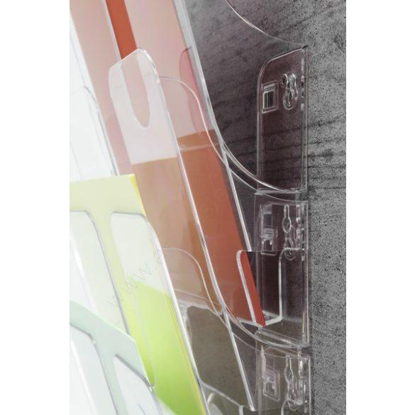 A4 fekvő Prospektustartó fali - FLEXIPLUS 6 rekeszes (1700014061) FEKETE