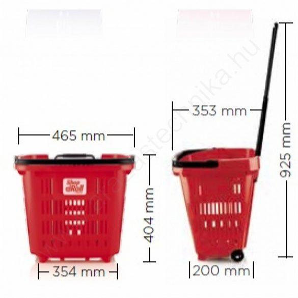 34 L Gurulós bevásárló kosár (34 literes) antracit -  ZÖLD fül