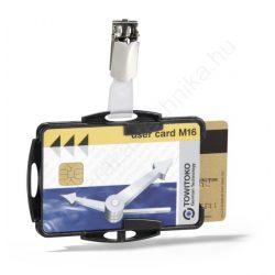 Biztonsági kártyatartó DUO - fekete nyitott (8218-01) csipesz tartóval
