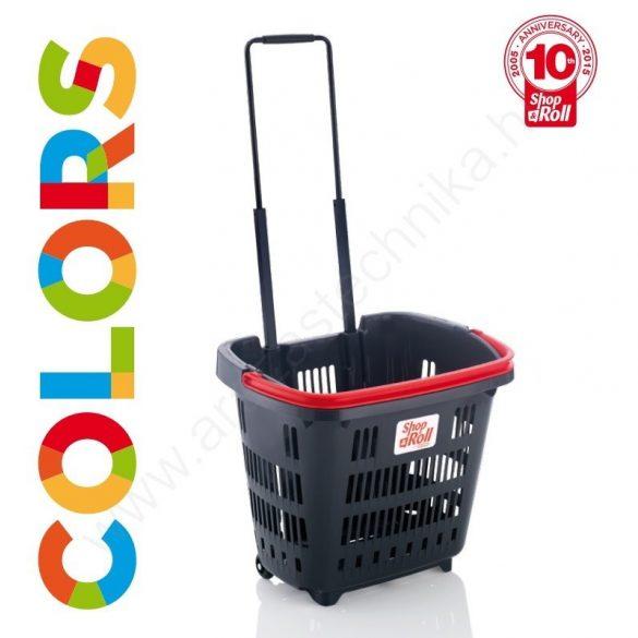 34 L Gurulós bevásárló kosár (34 literes) antracit - KÉK fül