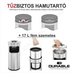 TŰZBIZTOS HAMUTARTÓ + 17 L fém szemetes (3332-01) - fekete