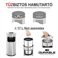 TŰZBIZTOS HAMUTARTÓ + 17 L fém szemetes (3332-23) - ezüst