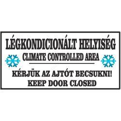 Légkondicionált helyiség 21×10cm matrica (UV álló kültéri festék) - fekete