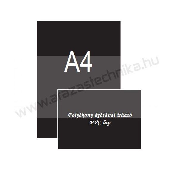 A4 fekete PVC 0,8mm [210×297mm] - krétamarkerrel írható
