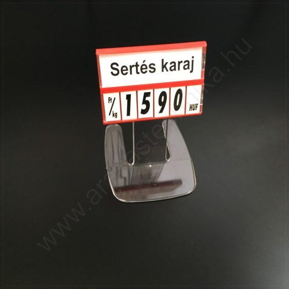 Árkazetta SZETT 74x51mm lapozható számokkal (piros keret) + 10 cm akril TALP